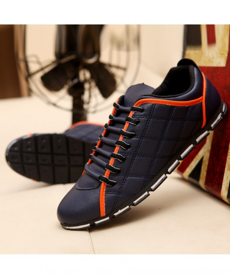 Blue Orange Designer Flats Leather Casual Lace Up Shoes