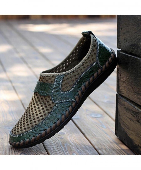 Green High Quality Breathable Flat Casual Leather Sandals