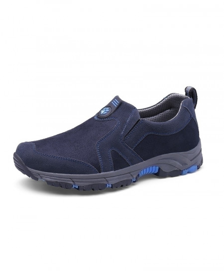 Navy Trekking Slip On Mountain Climbing Leather Warm Hiking Shoes