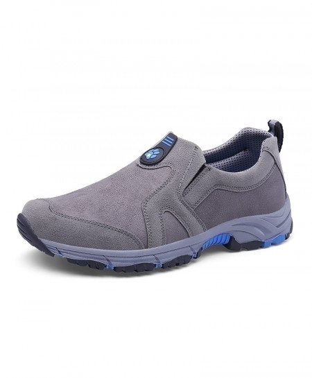 Grey Trekking Slip On Mountain Climbing Leather Warm Hiking Shoes