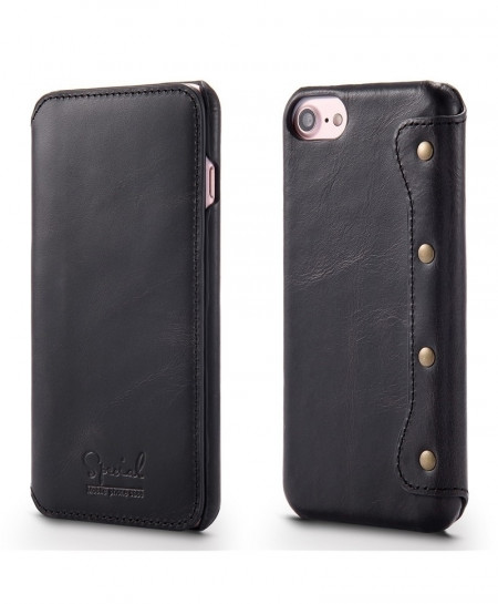 Black Retro Handmade Luxury Cow Leather Case