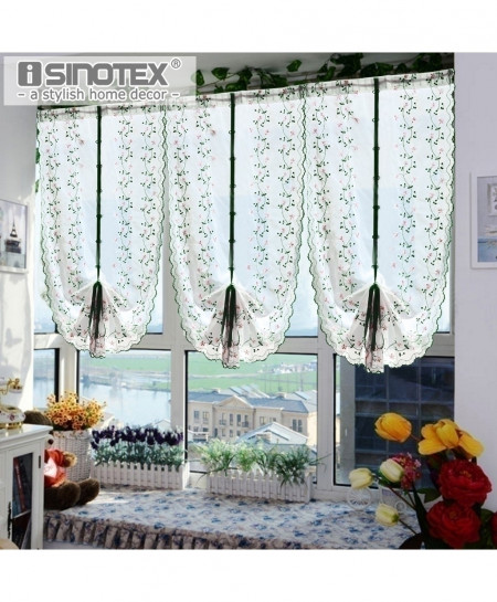Roman Window Curtain Tulle Embroidered Voile Sheer Fresh Curtain