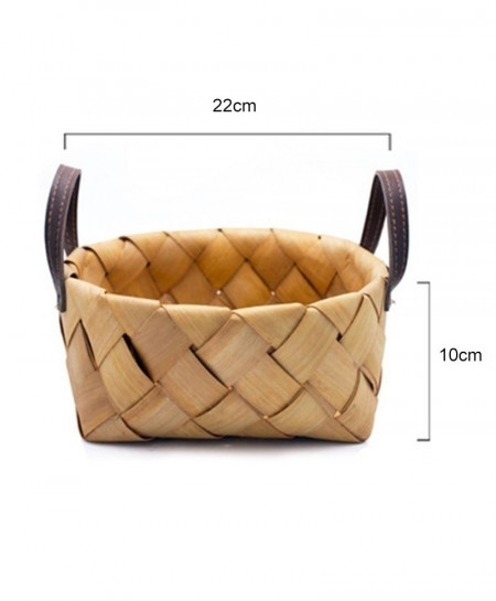 Hand-Woven Wood Chips Storage Basket Rattan Straw Box