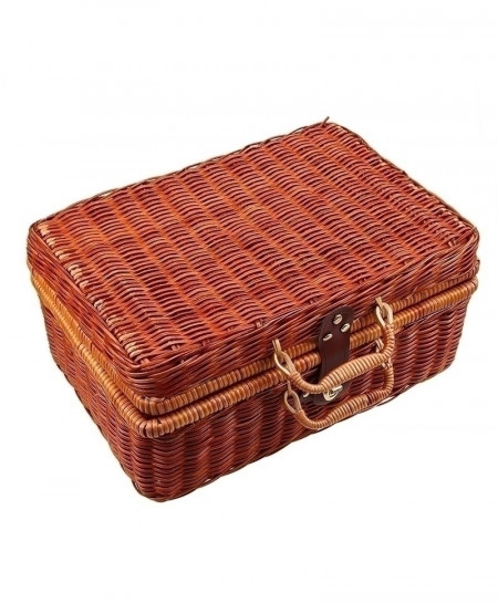 WCIC Handmade Travel Picnic Bamboo Basket Mini Rattan Suitcase Woven Storage Basket
