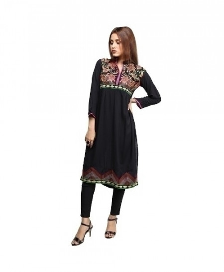 Black Embroidered Cotton Design Ladeis Suit AKG-184