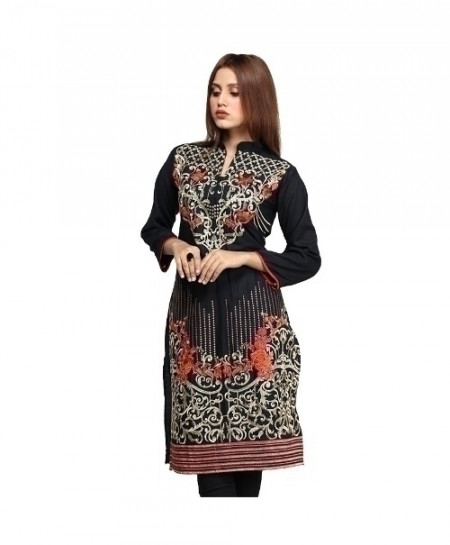 Black Embroidered Cotton Design Ladeis Suit AKG-182
