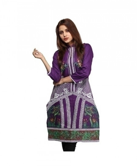 Purple Embroidered Cotton Design Ladeis Suit AKG-179