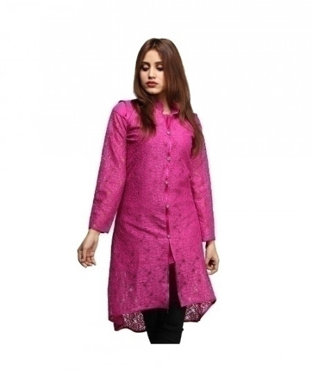Fuschia Plain Net Cotton Design Ladeis Suit AKG-174