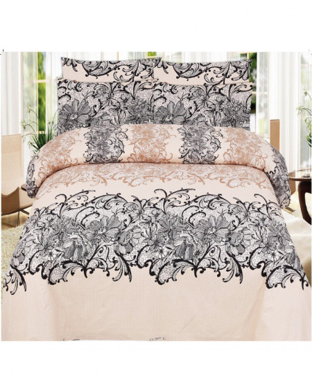 Skin Black Floral Cotton Bedsheet SY-1122