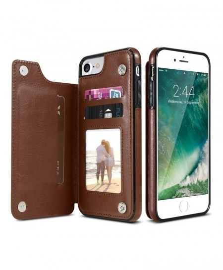 KISSCASE Brown PU Leather Iphone Wallet Case At-381
