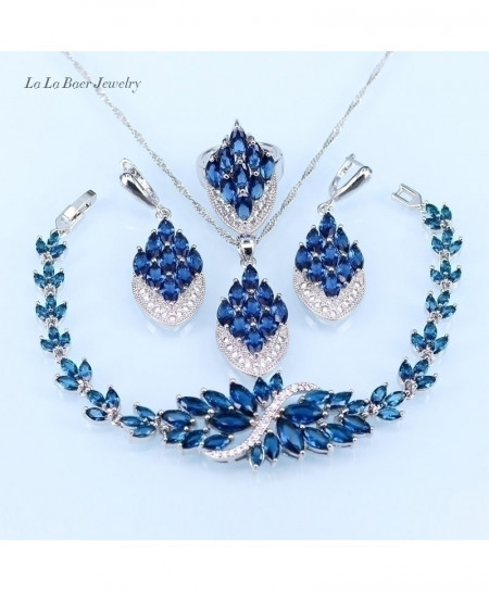 LB Blue Crystal White Zircon Silver Color Jewelry Sets