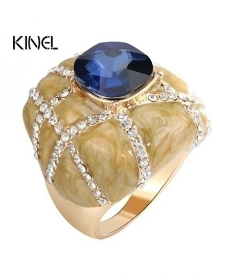 Kinel Blue Glass Enamel Crystal Rings