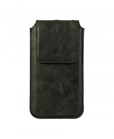 Jisoncase Black Leather Magnetic Closure Pouch