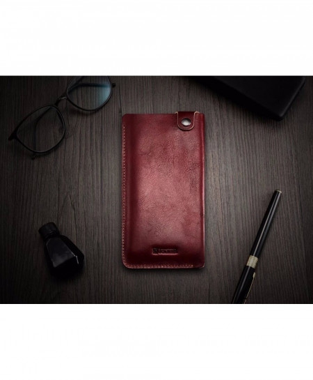 iCarer Red Luxury Leather Phone Pouch Holster Cases