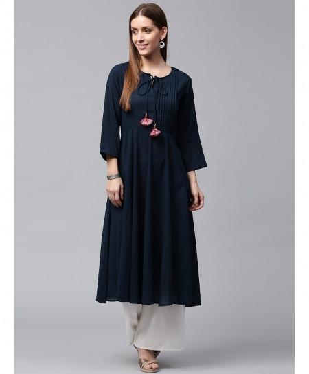Navy Blue Dori Threaded Style Ladies Kurti ALK-99