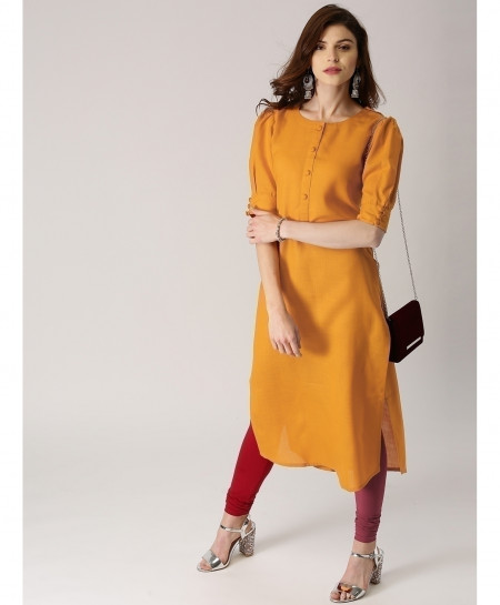 Rusty Gold Button Sleeves Style Ladies Kurti ALK-91