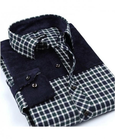 Black Checkered Patchwork Plaid Brushed Flannel Slim Fit