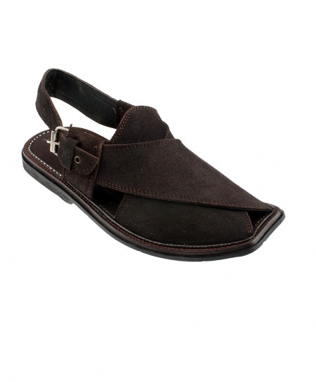 Choco Brown Suede Leather Peshawari Sandal SPK-036