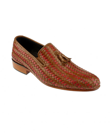 Red Brown Tassel Leather Formal Shoes LC-305
