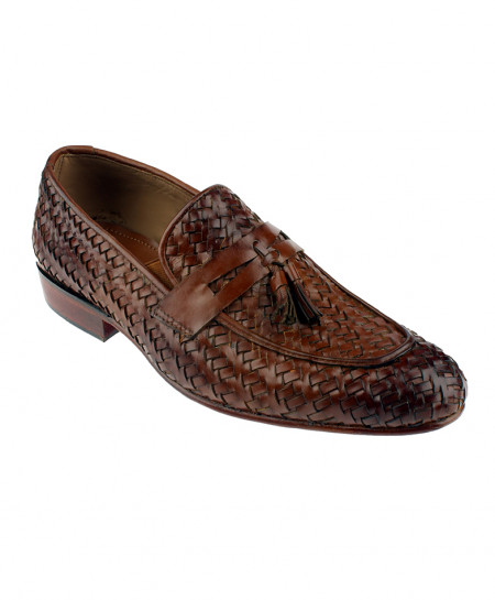 Brown Shaded Tassel Leather Formal Shoes LC-307