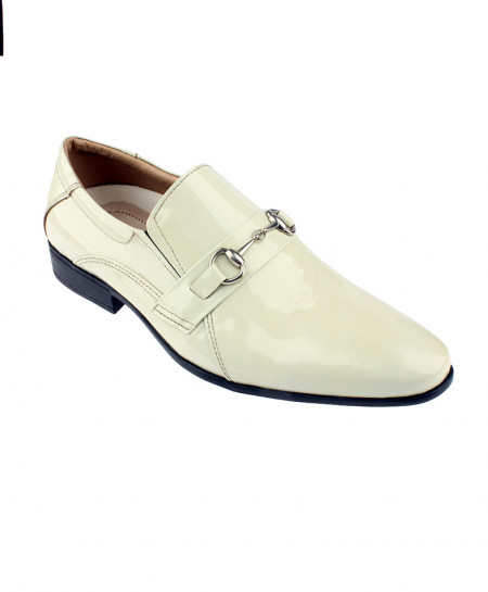 White Slip on Leather Formal Shoes LC-310