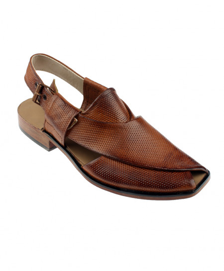 Brown Dotted Peshawari Style Leather Sandal LC-208