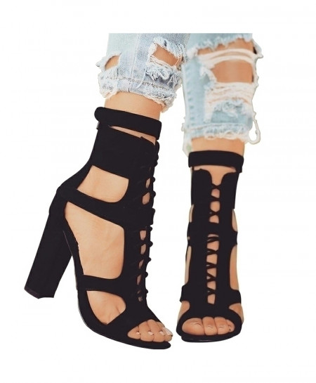 Parkside Black Wind Flock Gladiator High Heels Strap Pumps Sandals