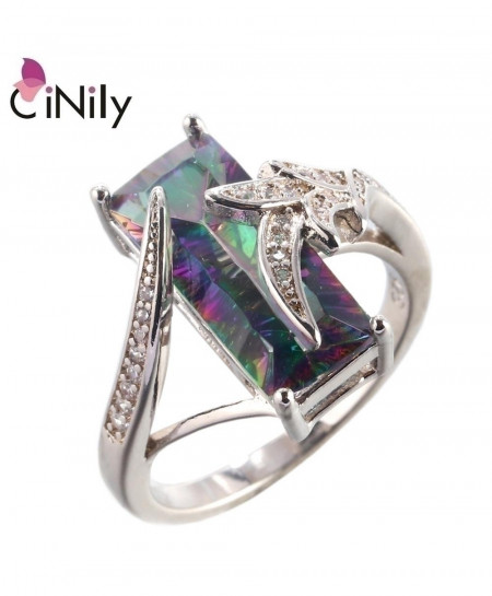 CiNily Mystic Zirconia Cubic Zirconia Silver Plated Ring