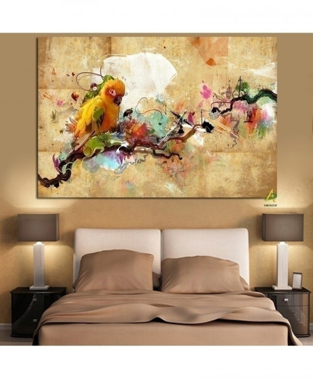 Abstract Artistic Paint Parrot Bird Oil Painting Canvas