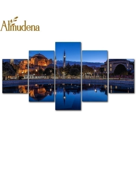 ALMUDENA 5 Panels Sultan Ahmed Mosque Istanbul Canvas Painting