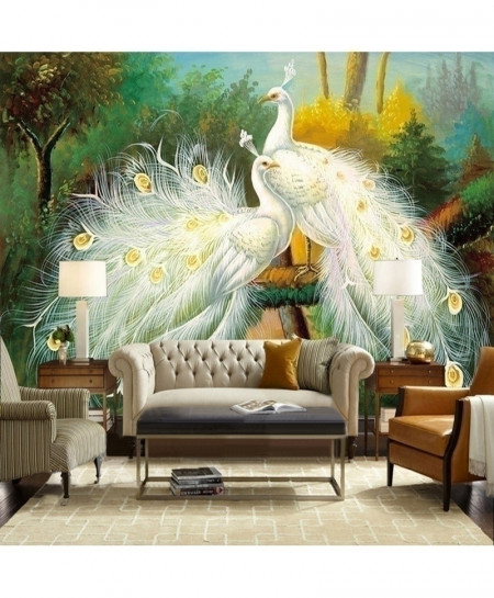 3D Beautiful White Peacock Forest Landscape 2 Square Meters Art Wallpaper