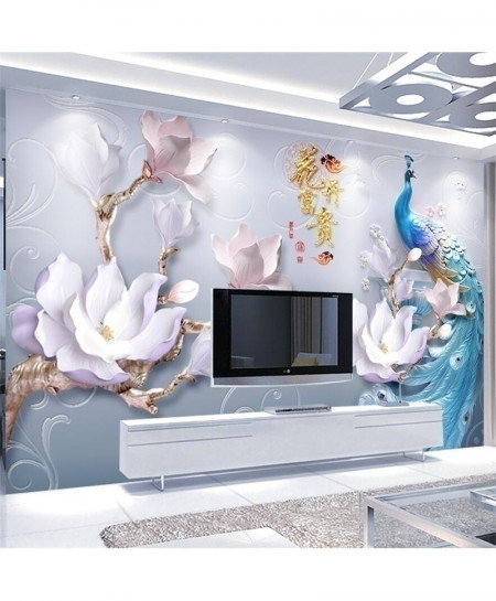 Beibehang 3D Embossed Flowers Rich Peacock 1 square meter Wallpaper