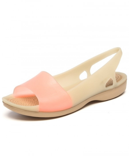 Nude Pink Peep Toe Stappy Beach Rainbow Croc Jelly Sandals