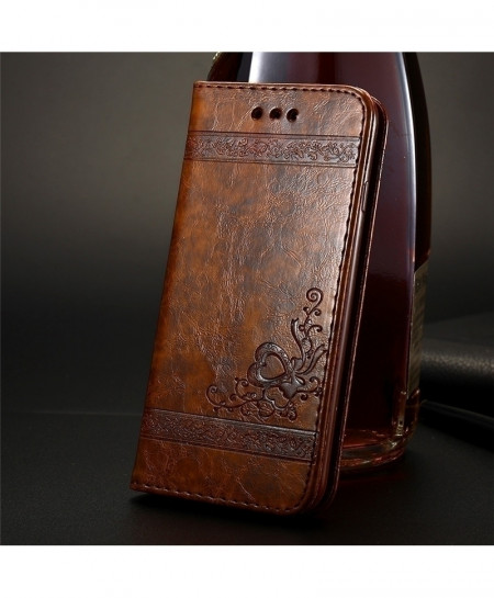 FLOVEME Brown Phone Bag Cases For iPhone Leather Stand Wallet