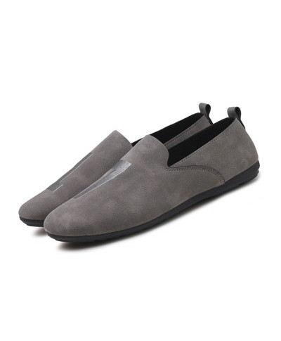 Ceyue Grey Suede Loafers Leather Moccasins Slip on Loafers