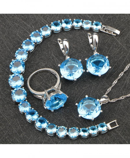 BELLE NOEL Round Blue Stones Silver 925 Costume Bridal Jewelry Sets