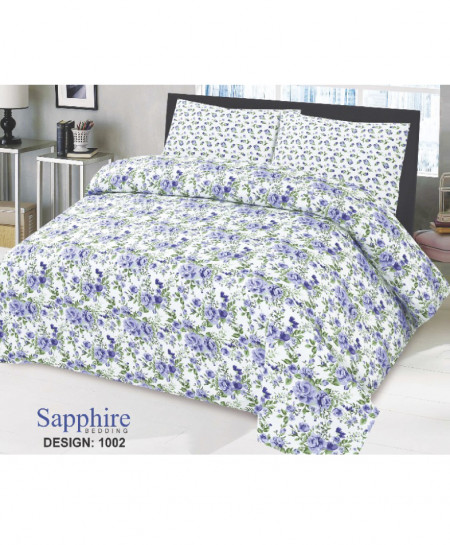 White Blue Floral Cotton Bedsheet PBS-SB1002