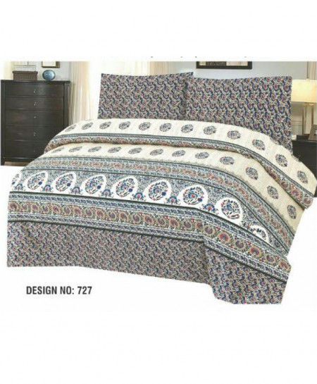 Blue MultiColor Floral Cotton Bedsheet PBS-727