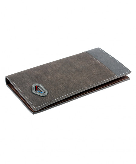 Grey Texture Leather Card Holder Long Wallet SPK-073