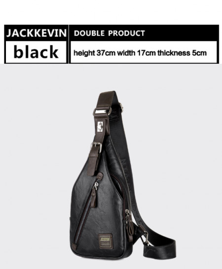 JACKKEVIN Anti-theft Magnetic Clasp Leather Bag