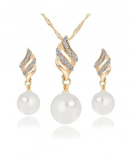 Gold Big Simulated Pearl Jewelry Sets For Women