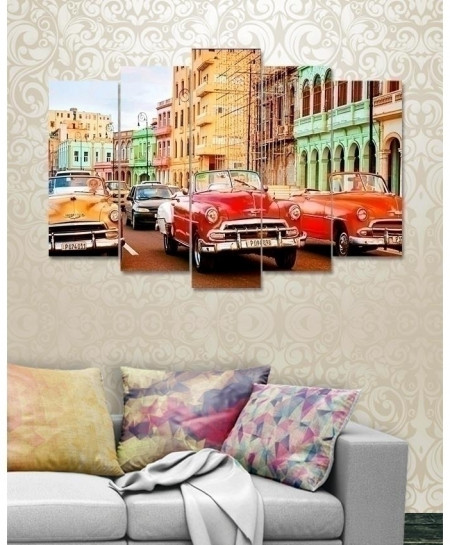 Vintage City 5 Pieces Canvas Wall Frame BNS-3126
