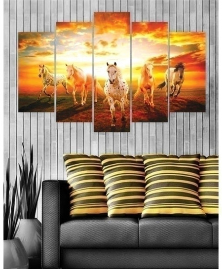 Running Horses 5 Pieces Canvas Wall Frame BNS-3124