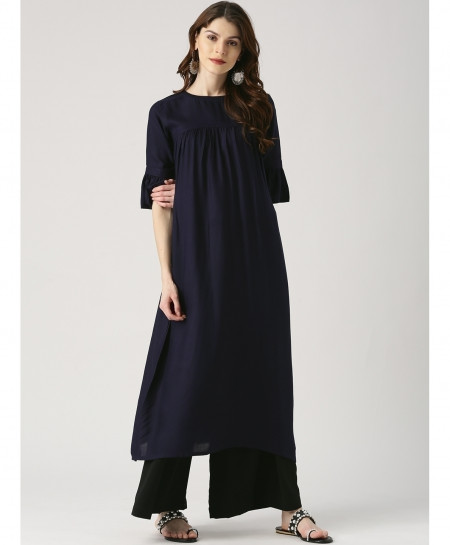 Navy Tulip Sleeves Round Style Ladies Kurti ALK-108