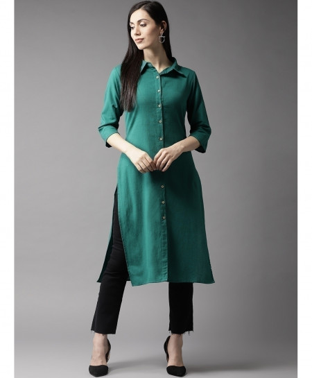 D Green Front Button Neck Style Ladies Kurti ALK-116
