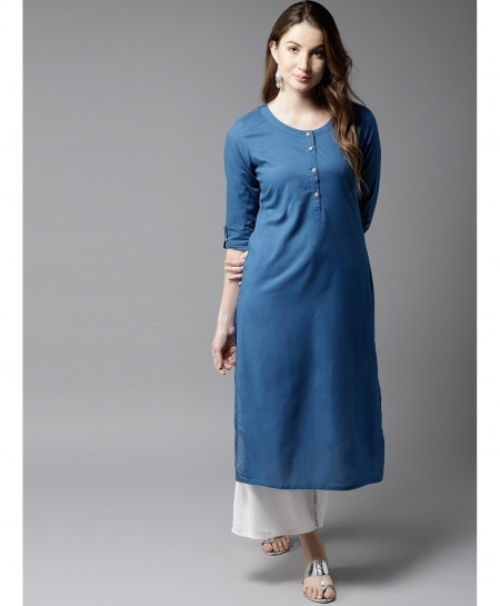 Ink Blue Button Neck Style Ladies Kurti ALK-115