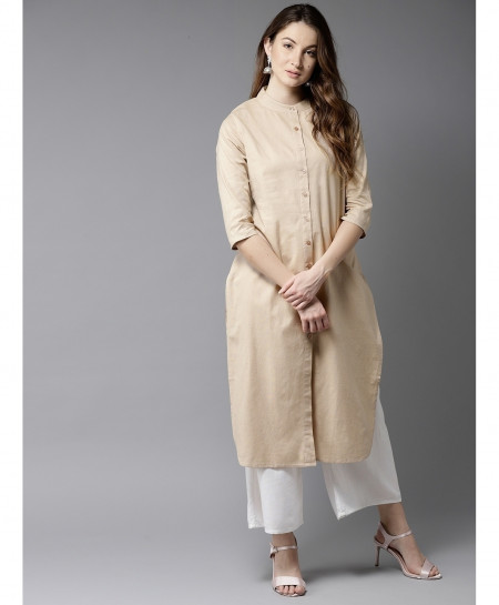 P Khaki Round Neck Button Style Ladies Kurti ALK-114