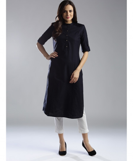 Navy Round Neck Button Style Ladies Kurti ALK-111
