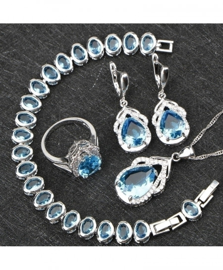 Blue Zircon Silver 925 Jewelry Set