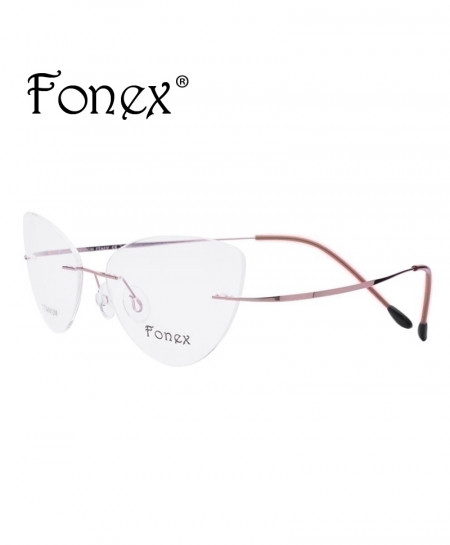 Pink Rimless Titanium Ultralight Cat Eye Screwless Optical Frame